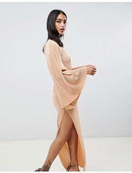 Asos Design One Sleeve Plisse Maxi Dress by Asos Design