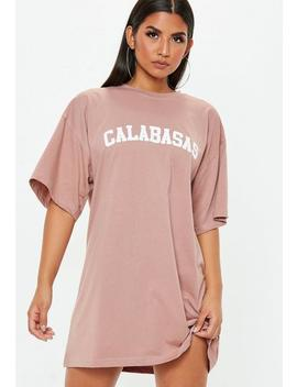 Pink Oversized Short Sleeve Calabasas T Shirt Dress by Missguided
