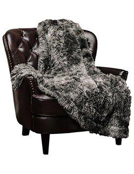 """Chanasya Super Soft Shaggy Fuzzy Fur Fluffy Faux Fur Warm Elegant Cozy With Sherpa Color Variation Pattern Print Dark Gray Microfiber Throw Blanket (50"""" X 65"""")  Charcoal by Chanasya"""