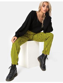 Dastan Trouser In Medium Gingham Yellow By Motel by Motel Rocks