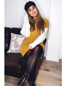 Mustard Cable Knit Colour Block Jumper   Evren by Rebellious Fashion