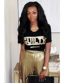 Black Gold Glitter Guilty Slogan T Shirt   Javonna by Rebellious Fashion