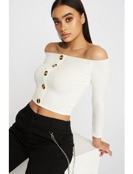 Off The Shoulder Button Cropped Long Sleeve by Urban Planet