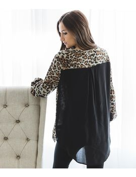 Pieced Leopard Print Top by Doe & Rae