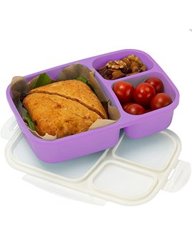 Leakproof, 3 Compartment, Bento Lunch Box, Airtight Food Storage Container (1 Pc)   Purple by Sunsella