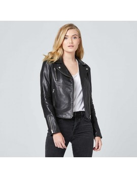 Womens Leather Moto Jacket With Silver Hardware by Dstld