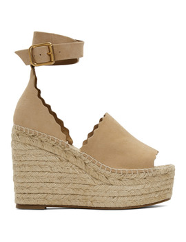 Beige Suede Lauren Wedge Sandals by ChloÉ