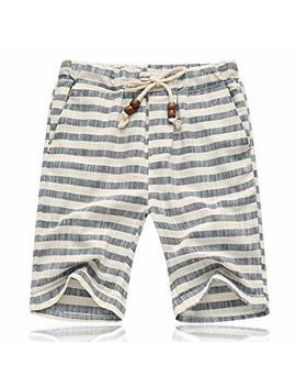 Banana Bucket Men's Summer Casual Linen Drawstring Striped Beach Shorts by Banana Bucket