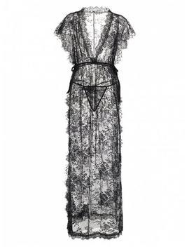 Lace Sheer High Slit Maxi Lingerie Dress   Black by Zaful