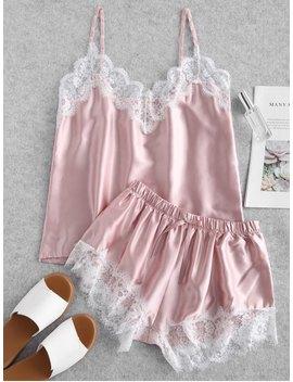 Contrast Lace Satin Cami Pajama Set   Pink S by Zaful