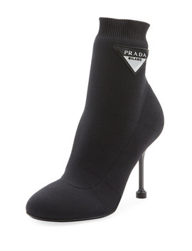 Stretch Knit Ankle Booties by Prada
