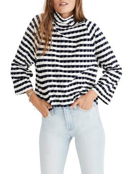 Texture & Thread Velvet Stripe Mock Neck Top by Madewell