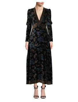 Solstice Long Sleeve Velvet V Neck Maxi Dress by Rebecca Taylor