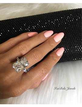 Liz Ring. 925 Sterling Silver Statment Ring With Large 8.5 Carat Cubic Zirconia. Gorgeous Ring. Elegant Ring. Classy Ring. by Etsy