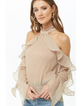 Sheer Metallic Pleated Open Shoulder Top by Forever 21