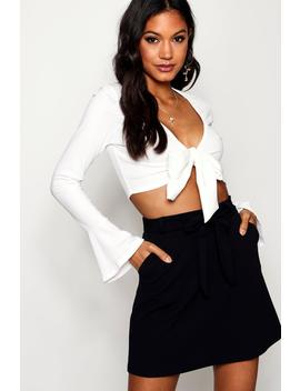 Tie Waist Pocket Front Mini Skirt by Boohoo