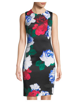 Stretch Floral Sheath Dress by Iconic American Designer