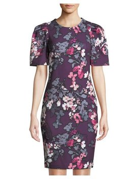 Floral Print Puff Sleeve Sheath Dress by Iconic American Designer