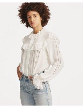 Lace Trim Silk Blouse by Ralph Lauren