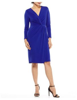 Sonya Long Sleeve Jersey Wrap Dress by Maggy London