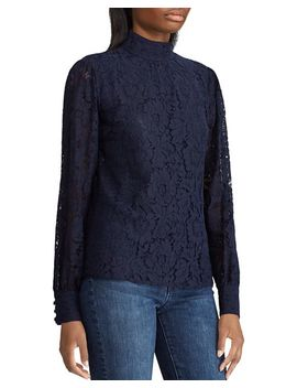 Mock Neck Lace Top by Lauren Ralph Lauren