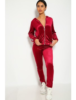 Sexy Wine Two Piece Velvet Striped Activewear Outfit by Ami Clubwear