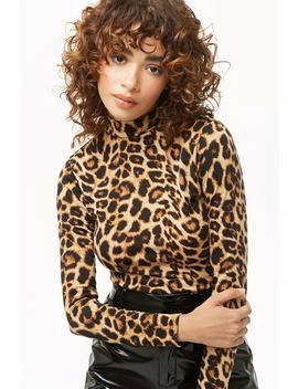 Leopard Print Mock Neck Top by Forever 21