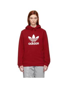 Red Trefoil Logo Warm Up Hoodie by Adidas Originals