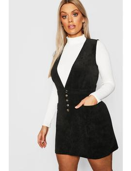 Plus Cord Popper Plunge Shift Dress by Boohoo