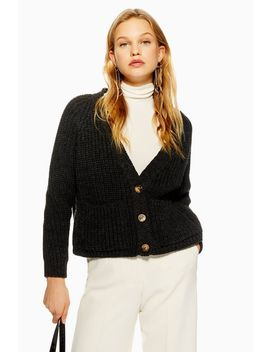Button Crop Cardigan by Topshop