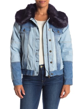 Denim Faux Fur Trim Collar Jacket by Fate