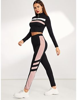 Zip Front Striped Sweatshirt & Pants Set by Shein