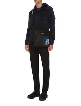 Leather Trimmed Shell Messenger Bag by Prada