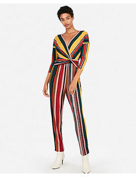 Stripe Long Sleeve Twist Front Jumpsuit by Express
