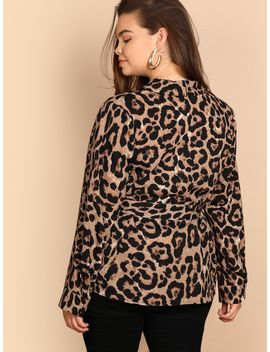 Plus Shawl Collar Leopard Blazer by Shein