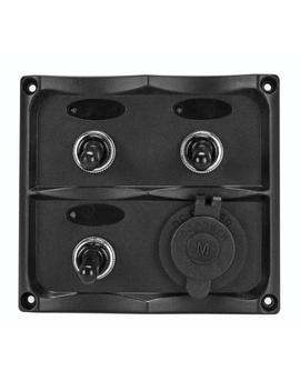 Marine Grade 12 Volt Toggle Switch Panel   3 Toggle Switches And 1 Hermit Dc Socket by Extreme Max