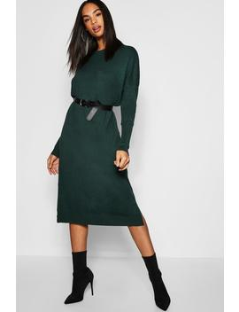 Tall Crew Neck Knitted Dress by Boohoo