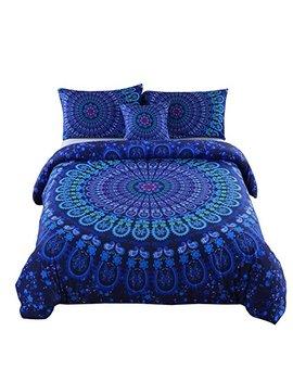 Meila 4 Pcs Luxury Soft Microfiber Bedclothes Plain Twill Boho Bohemian Duvet Cover Set Mandala Pattern Bedding Sets (Full) by Meila