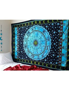 Blue Zodiac Tapestry Horoscope Tapestry Indian Astrology Hippie Tapestry Wall Hanging Dorm Decor Psychedelic Tapestry Bohemian Bedspread Bed Cover Bedding Beach Blanket by Jaipur Handloom