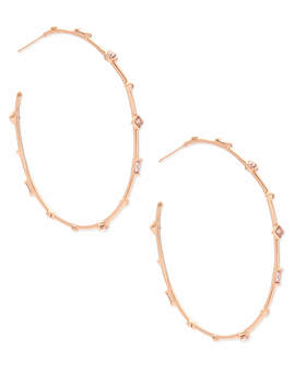 Zella Rose Gold Hoop Earrings In Blush Crystal by Kendra Scott