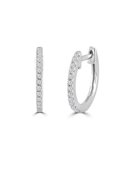 1/10ct Round Pave Diamond 14k White/Yellow Gold Mini Huggie Earrings by Etsy