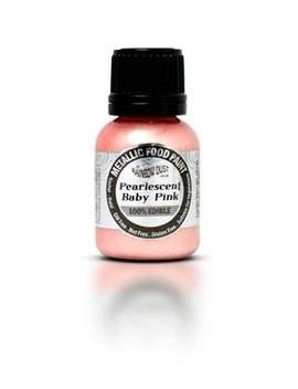 Ready To Use Metallic Pearlescent Baby Pink 100 Percents Edible Food Paint For Cake And Icing Decoration By Rainbow Dust by Rainbow Dust