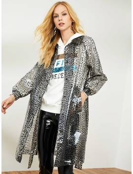 Self Belted Leopard Longline Raincoat by Shein