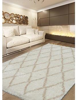 Ecarpetgallery Shags&Flokatis Labrador Diamante Diamond 5' X 7' Ivory Living Room Dining Room Arearug by E Carpet Gallery