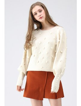 Still In Love Pom Pom Knit Sweater In Cream by Chicwish