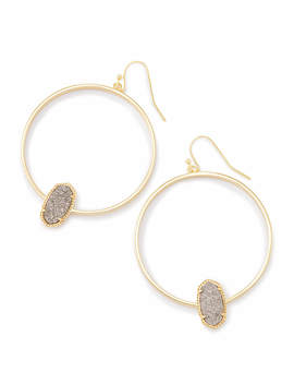 Elora Gold Hoop Earrings In Platinum Drusy by Kendra Scott