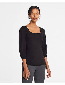 "<A Href=""Https://Www.Anntaylor.Com/Square Neck Blouson Sleeve Top/492645?Sku Id=26540887&Default Color=2222&Default Size=902&Price Sort=Desc"" Tabindex=""0"" Data Di Id=""Di Id 6ec9cf44 70c04fa6"">Square Neck Blouson Sleeve Top</A> by Ann Taylor"