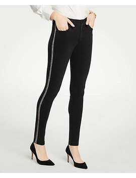 Tall Modern Shimmer Side Stripe Skinny Jeans by Ann Taylor