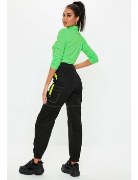 Black Neon Tape Contrast Cargo Pants by Missguided