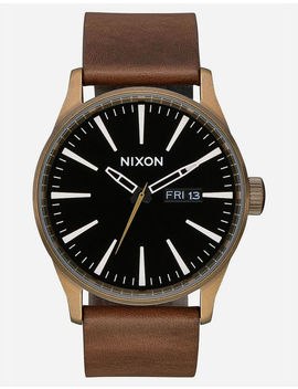 Nixon Raising The Bar Sentry Leather Black & Brown Watch by Nixon